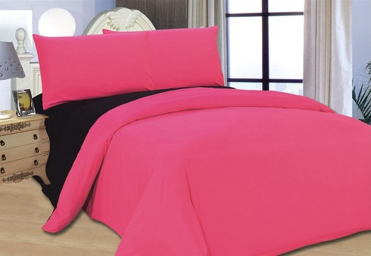 Bed Cover Fuscia Black