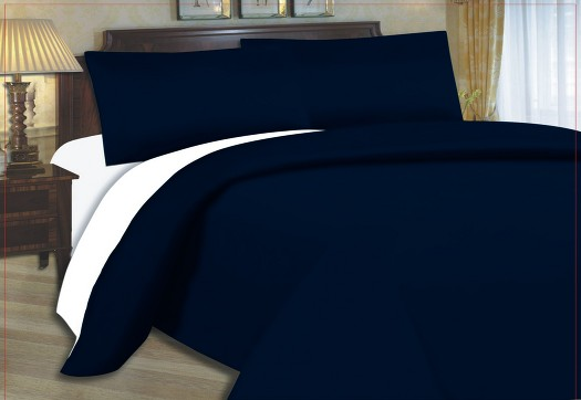 Bed Cover Navy Blue White