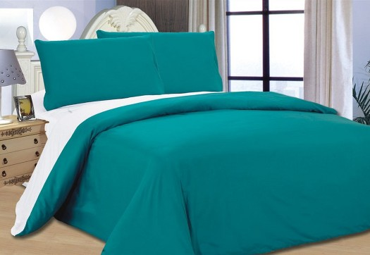 Bed Cover Teal White